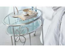 Прикроватный кованый столик со стеклом