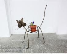 Кованая подставка для цветов Кот