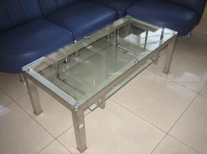 Столик журнальный из нержавеющей стали со стеклом